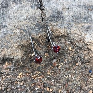 Sterling silver 925 garnet triangle drop earrings
